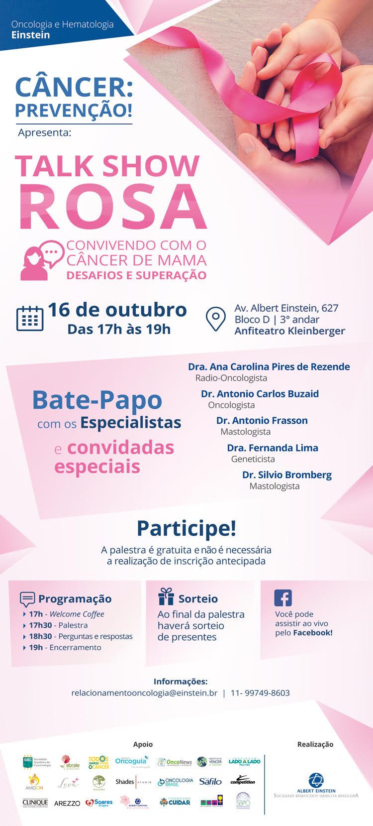 Flyer com a programaçnao de evento do Outubro Rosa 2018.