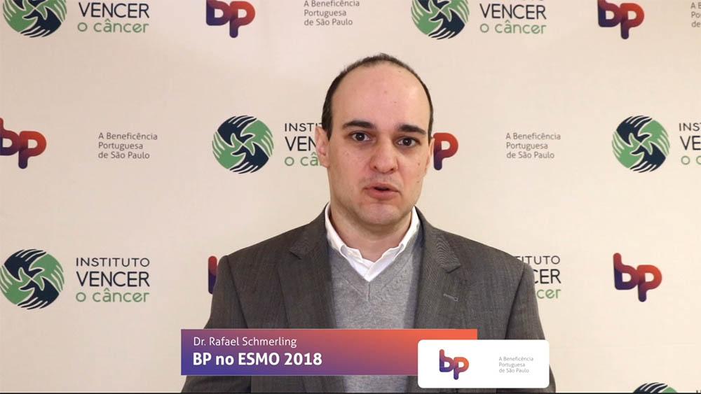 Thumbnail com dr. Rafael Schmerling falando sobre estudos a respeito de melanoma apresentados no ESMO 2018.
