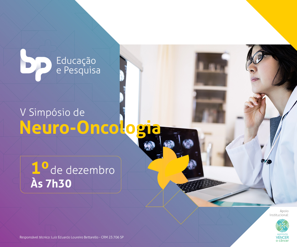 Flyer do evento Neuro-oncologia da Beneficência Portuguesa 2018.