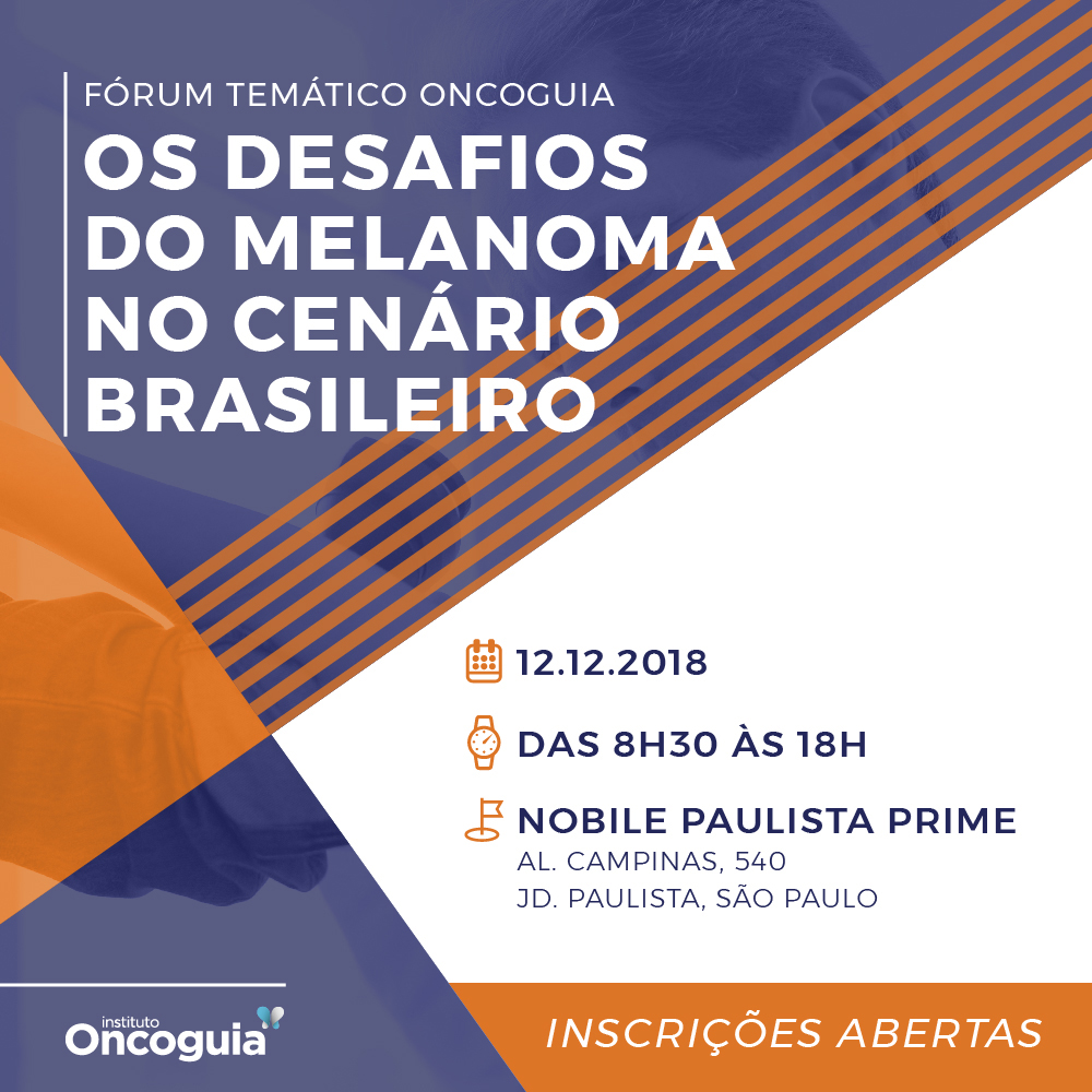 Flyer de divulgação do evento Desafios do Melanoma 2018.