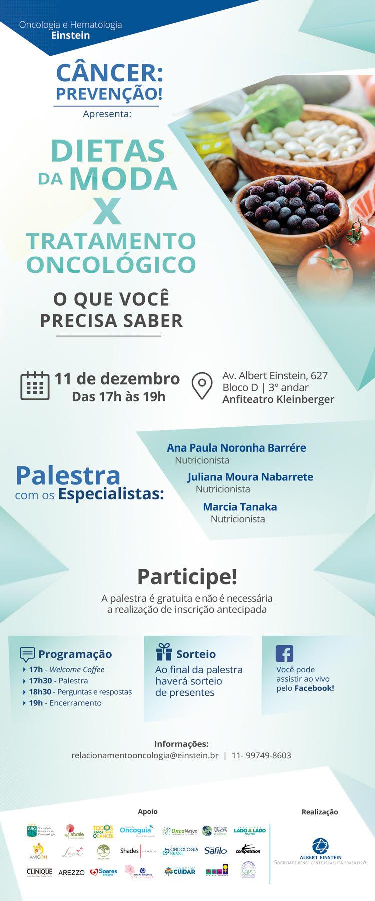 Programação do evento dietas da moda e tratamento oncológico.