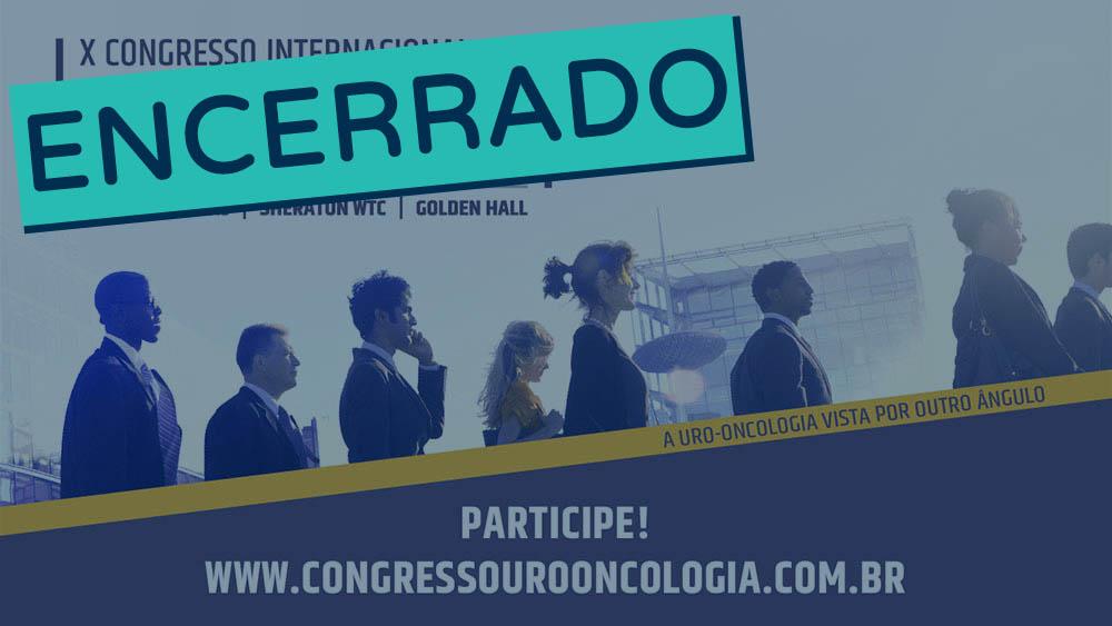 Banner do décimo congresso de uro-oncologia encerrado.