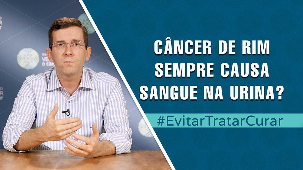 """Thumbnail com dr. Fabio Schutz e texto """"câncer de rim sempre causa sangue na urina?""""."""