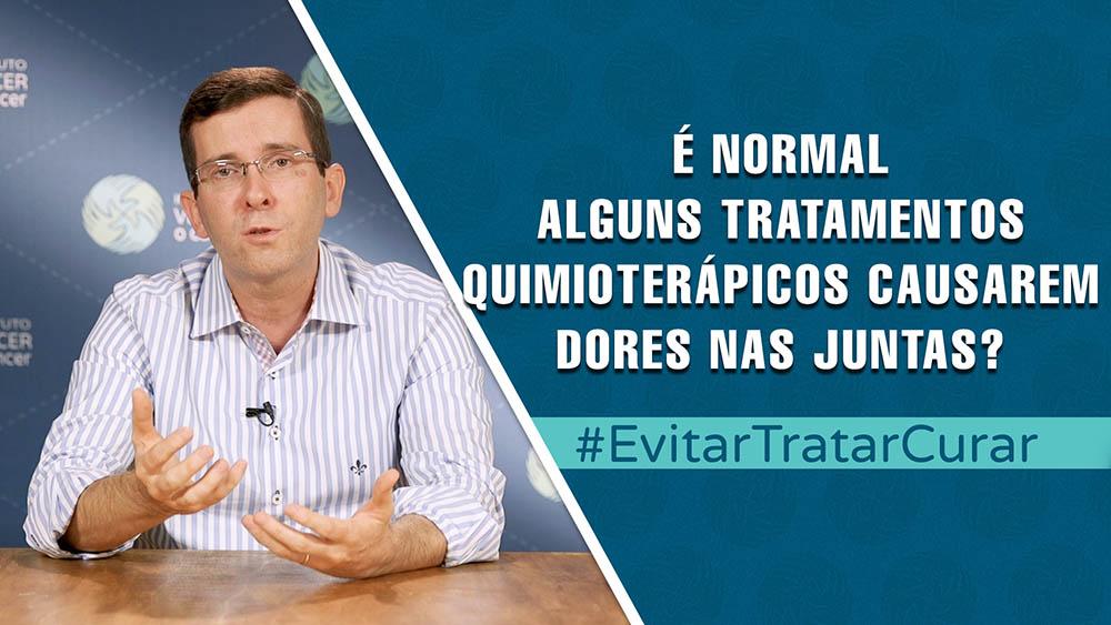 """Thumbnail com dr. Fabio Schutz e texto """"quimioterapia e dores nas juntas""""."""