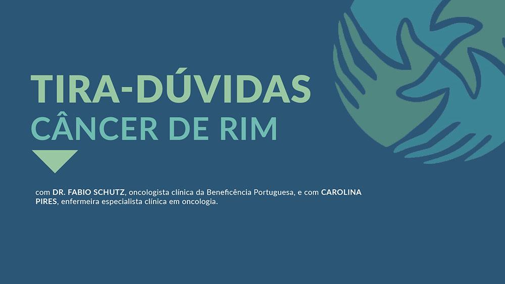 """Fundo azul com logo do IVOC e texto """"Tira-dúvidas câncer de rim""""."""