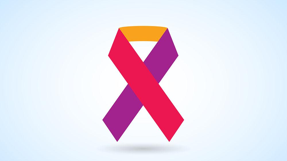 Laço de combate ao câncer com corez vermelho, amarelo e roxo sobre fundo azul.