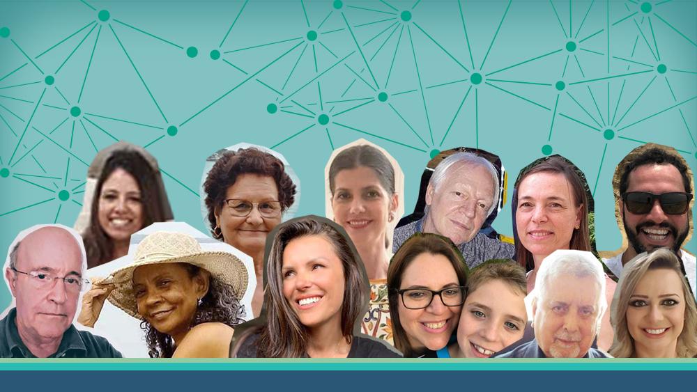 Colagemd e fotos de pessoas que deram depoimento nos 5 anos do Vencer o Câncer.