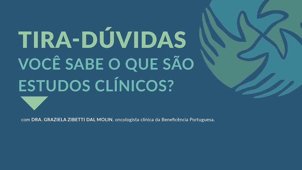 """Fundo azul com logo do IVOC e texto """"você sabe o que são estudos clínicos?""""."""