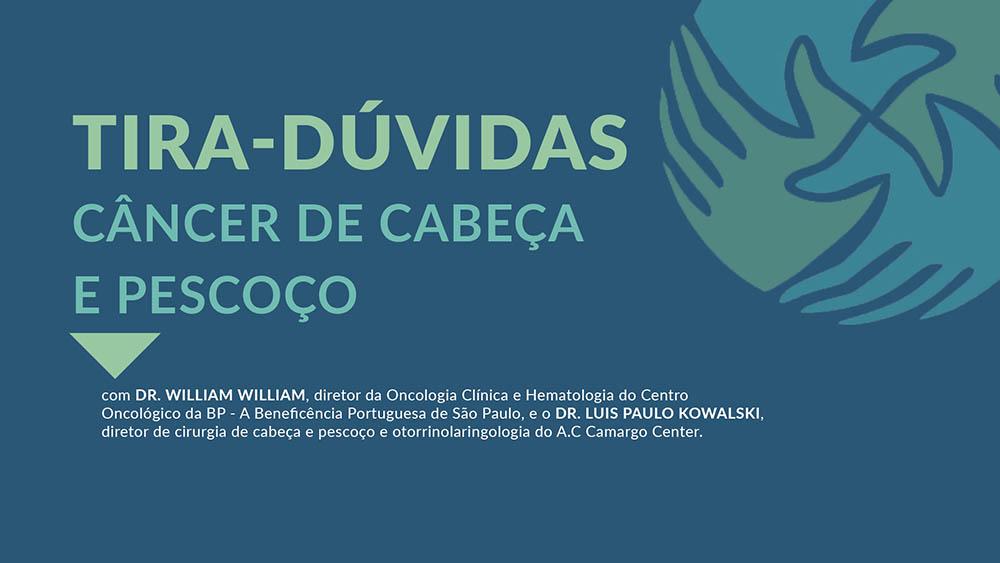 """Fundo azul com logo do IVOC e texto """"tira-dúvidas câncer de cabeça e pescoço""""."""